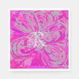 Monogram Fuchsia Pink Luncheon Paper Napkins