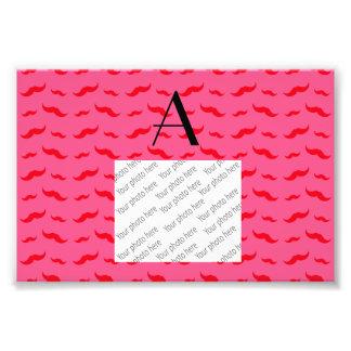 Monogram fuchsia pink mustache pattern photograph