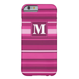 Monogram fuchsia stripes barely there iPhone 6 case