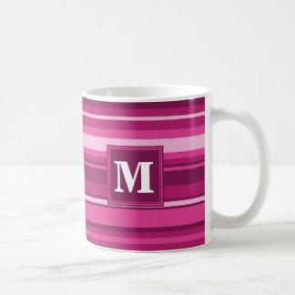 Monogram fuchsia stripes basic white mug