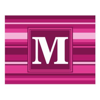 Monogram fuchsia stripes postcard