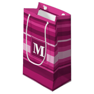 Monogram fuchsia stripes small gift bag
