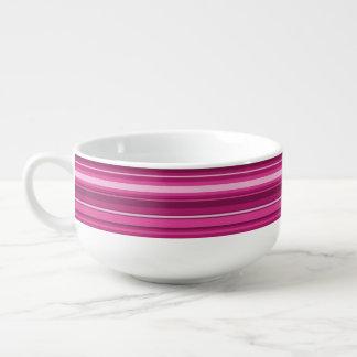Monogram fuchsia stripes soup bowl with handle