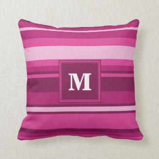 Monogram fuchsia stripes throw pillow