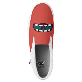 Monogram. Funny Big Mouth Monster. Slip-On Shoes