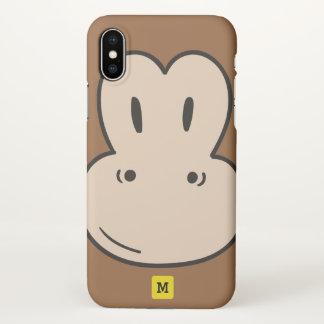 Monogram. Funny Cute Doodle Monkey Safari Pattern. iPhone X Case