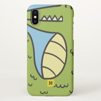 Monogram. Funny. Cute Green Doodle Crocodile. iPhone X Case