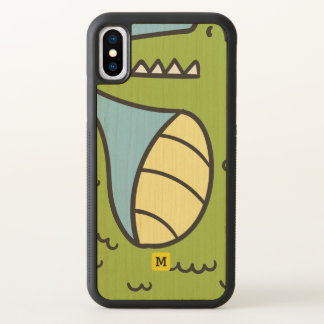 Monogram. Funny. Cute Green Doodle Crocodile. iPhone X Case