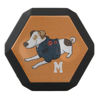 Monogram. Funny Cute Little Puppy Dog. Black Bluetooth Speaker