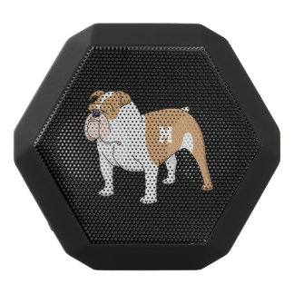 Monogram. Funny Cute Little Puppy Dog. Bulldog. Black Bluetooth Speaker