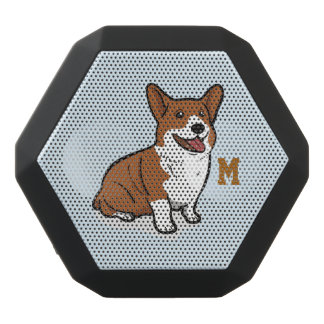 Monogram. Funny Cute Little Puppy Dog. Corgi. Black Bluetooth Speaker