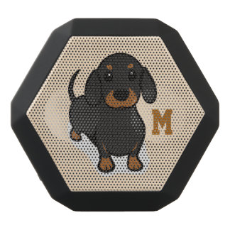 Monogram. Funny Cute Little Puppy Dog. Wiener Dog. Black Bluetooth Speaker