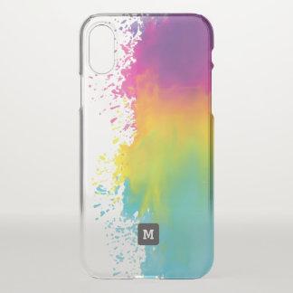 Monogram. Funny. Watercolor Grunge Rainbow Colors. iPhone X Case