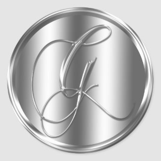 Monogram G Silver Color Round Sticker
