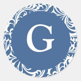Monogram G Slate Blue Seals For Wedding Theme Mono Round Sticker