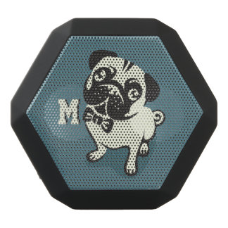 Monogram. Gentleman Pug with a Cute Bowtie. Black Bluetooth Speaker
