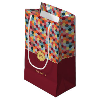 Monogram Geometric Burgundy Hexagon Gift Bag