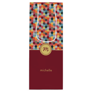 Monogram Geometric Burgundy Hexagon Wine Gift Bag