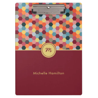 Monogram Geometric Modern Hexagon Clipboard