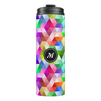Monogram Geometric Rainbow Colors Thermal Tumbler