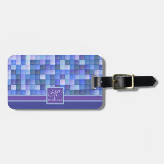 Monogram Geometric Square Tiles Blue Violet Teal Luggage Tag