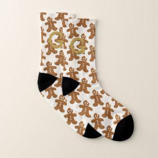 Monogram Gingerbread Cookies Christmas Socks 1