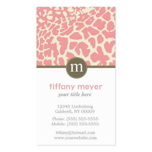 Monogram Giraffe Pattern Business Cards