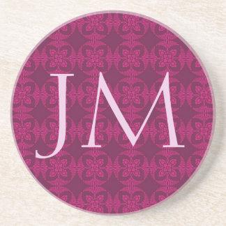 Monogram Girly Burgundy and Pink Geometric Floral Beverage Coasters