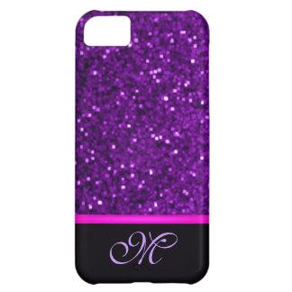 Monogram Girly Cute Glitter Sparkle Bling Purple iPhone 5C Case