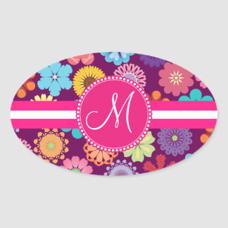 Monogram Girly Flower Power Colorful Floral Patter Sticker