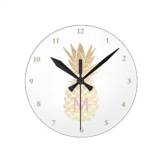 monogram girly golden pineapple round clock