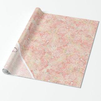 Monogram Girly Paisley Pink Elegant Floral Sketch Wrapping Paper