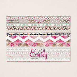 Monogram Girly Pink White Floral Aztec Pattern Business Card
