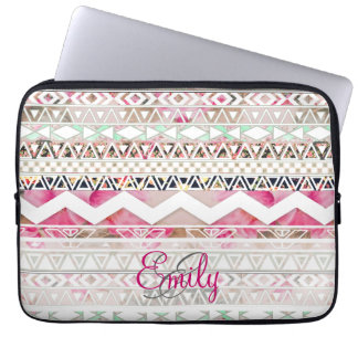 Monogram Girly Pink White Floral Aztec Pattern Laptop Sleeve