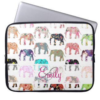 Monogram Girly Retro Floral Elephants Pattern Laptop Sleeve