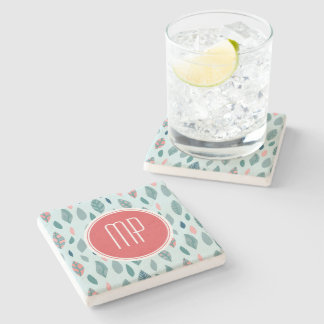 Monogram Girly Whimsical Leaves Pattern Stone Beverage Coaster