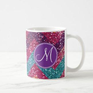 Monogram Glitter Chevron Pink Purple Orange Teal Basic White Mug