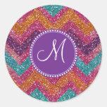 Monogram Glitter Chevron Pink Purple Orange Teal Round Sticker