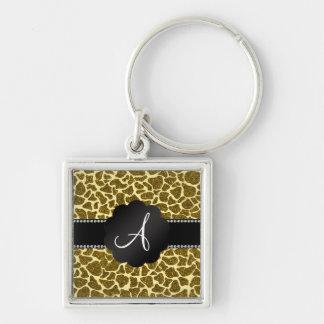Monogram glitter giraffe print Silver-Colored square key ring
