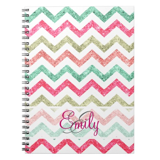 Monogram Glitter Teal Coral Emerald Red Chevron Notebooks