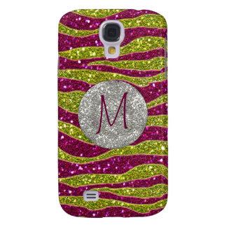 Monogram Glitters Yellow Pink Zebra Stripes Galaxy S4 Case