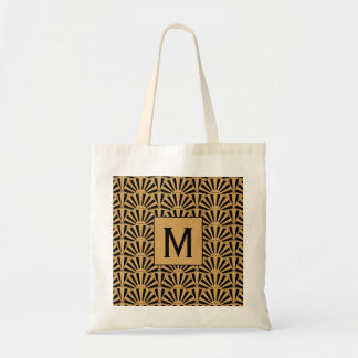 Monogram Gold and Black Art Deco Fan Flowers Motif