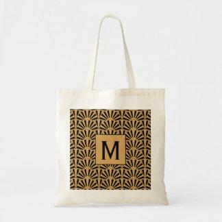 Monogram Gold and Black Art Deco Fan Flowers Motif Tote Bag