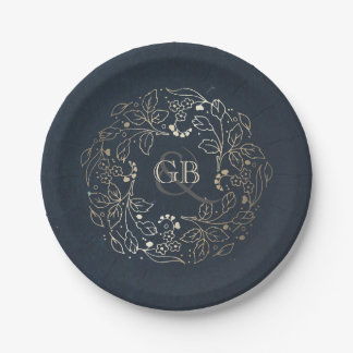 Monogram Gold and Navy Vintage Floral Wedding Paper Plate