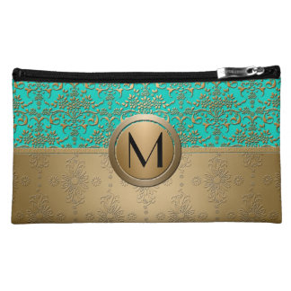 Monogram Gold and Turquoise Green Damask Makeup Bag