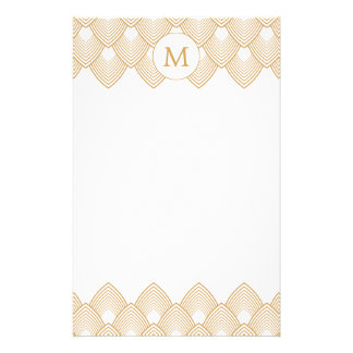Monogram Gold and White Art Deco Pattern Stationery