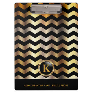 Monogram Gold & Black Chevron Stripes Clipboard