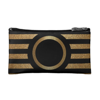 Monogram Gold & Black Cosmetic Bag