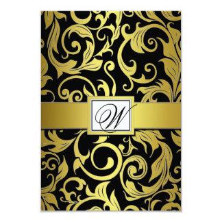 Monogram Gold & Black Damask Wedding RSVP Cards