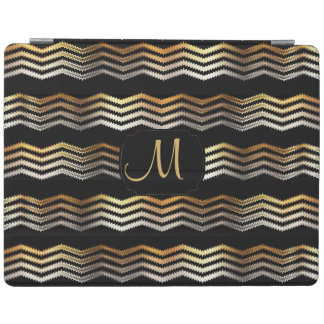 Monogram - Gold & Black Ikat Chevron Design iPad Cover